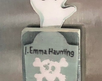 Ghost Grave Stone Adorable Halloween Magnet