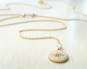 lariat necklace with starburst charm, gold filled charm Y necklace