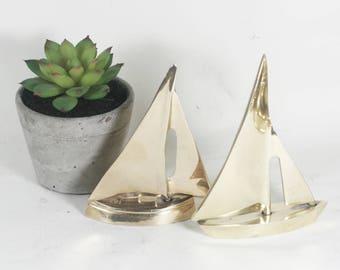 Pair of Brass Sailboats, Brass Nautical Decor, Mid century decor, brass paperweights