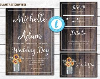 Wedding Invitation Template, Country Wedding Invition, Rustic Wedding InviteTemplate , wedding invitation suite, Rustic Wedding Template