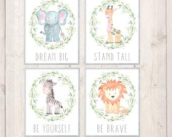 Safari Nursery Prints, Watercolor Animal Art, Safari Nursery Art Set,  Jungle Animals, Printable Instant Download