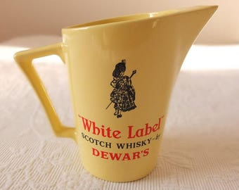 Jug Whiskey White Label Scotch whiskey jug Wade pm England vintage whiskey jug