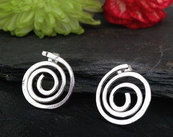 British handmade silver spiral stud earrings