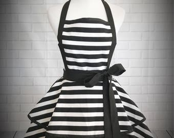 Black and white striped retro pinup apron // Makes a great gift/ kate spade inspired
