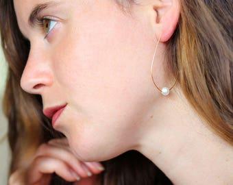 Drop Hoop Earrings, large open hoop , white pearl,gold plated  NICKEL FREE, Teardrop Lightweight earrings,Feminine and modern earrings