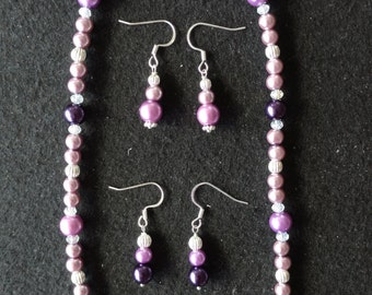 Purple, Silver and Crystal Necklace Set