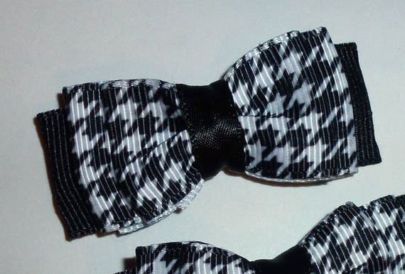 Puppy Bows ~ 3 black white herringbone pet hair bow latex band ~Usa seller (fb108)