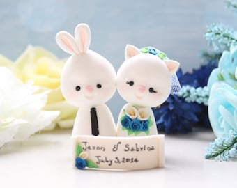 Unique wedding cake toppers Bunny & Kitty Cat bride groom figurines rabbit rustic personalized animal white royal blue calla lilies bouquet