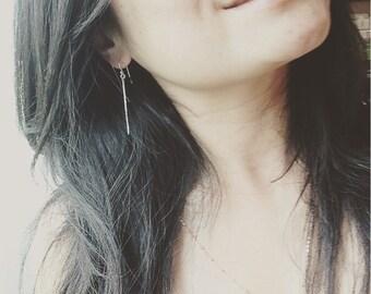 Bar Earrings - Hammered Sterling Silver Bar Earrings - Bar Drop Earrings - Everyday Wear - Handmade by Coco Wagner