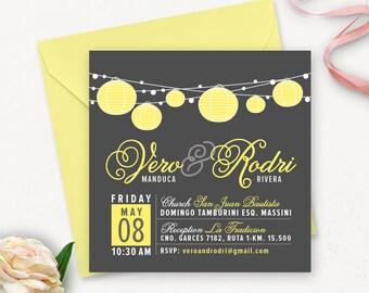 Printable Modern Wedding Invitation Template / Lantern Wedding Invitations Printable / Elegant Wedding Invitation Printable