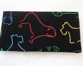 Checkbook Cover -colored pencil dogs on black