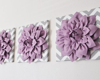 "Wall Art -SET of THREE Lilac Dahlia on Gray and White Chevron 12 x12"" Canvas Wall Art - 3D Felt Flower"