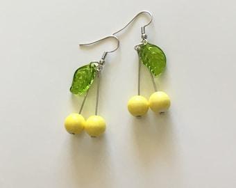 Yellow cherry earrings