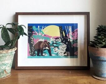 Bear print A4 with frame