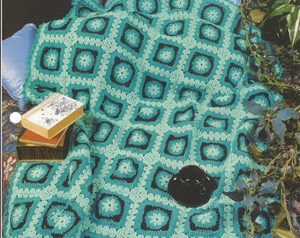 Turquoise Square Afghan Crochet Blanket Pattern, Granny Square, Bedspread, Home Decor, Bedding, Sofa Throw, Annie's Crochet Quilt