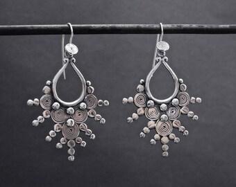 Silver Earrings, Silver Drops, Spiral Earrings, Teardrop Earrings, Tribal Silver Earrings, Oxidised Silver, Sterling Silver, 925