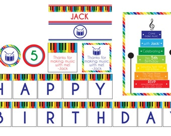 Music Birthday Party Package- Music Theme Printables- Xylophone Birthday Party Printables