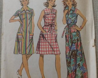 """Front Zipper Smock Dress with Yoke in Size 18-1/2 Bust 41"""" Vintage 70s Simplicity Sewing Pattern 5028 Complete"""