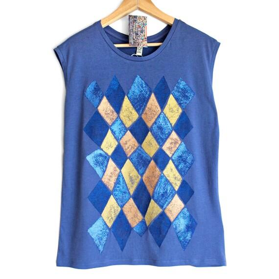 M L VENICE. Blue Ladies sleeveless top with printed vintage looking shiny metallic pattern. Womens singlet.