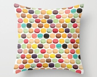 Macaron Pillow French Macaron Pillow Macaroon Print Pillow Paris Pillow French Home Decor Decorative Throw Pillow Cover Girly Kids Pillow