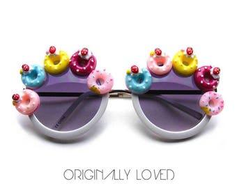 DONUT Embellished White Round Frame Sunglasses With Dark Lenses - Great For FESTIVALS