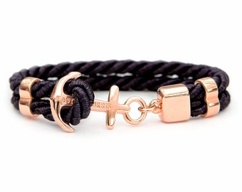Handmade Anchor Bracelet Pitch Black Rose Gold Plated Swedish Design