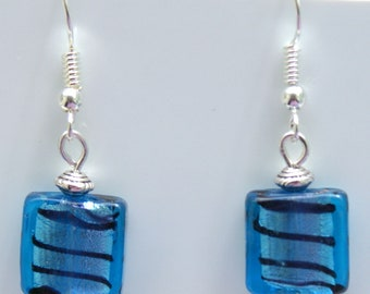 Blue Stripe Indian Glass Earrings with Sterling Silver Hooks LB81
