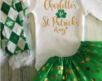 St Patricks Day Baby Girl Outfit My First St Patricks Day Gold Glitter Bodysuit w Optional Green and Gold Tutu Baby's First St Patricks Day