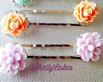 SALE 20% off Flower Hair Pins, Cabochon, Pastel, Brass Bobby Pin 2 pc. Set Wedding, Bridal, Hair Accessories, Hair Jewelry