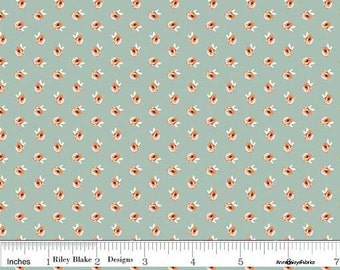 Coral & Dusky Mint Floral Fabric, Small Print Floral Quilt Fabric, Riley Blake Apricot and Persimmon C4902 Petal Mint, Tiny Flowers, Cotton
