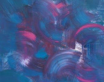 Large Painting on Canvas Blue Artex Swish