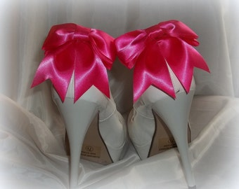 Satin Bow Shoe Clips - set of 2 -  Bridal Shoe Clips, Wedding shoe clips many colors to choose from