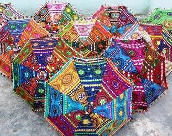 Handwork umbrella with Thread Embroidery, Patch Work indian parasol ,decorative cotton sun umbrella ,mirror work ,wedding umbrella 5pcs lot