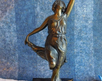 Antique Vintage Spelter Statue Dancing Flapper Woman Nymph Brass / Bronze Plated - 1920s Cast Metal Sculpture - Diaphanous Classical Draped