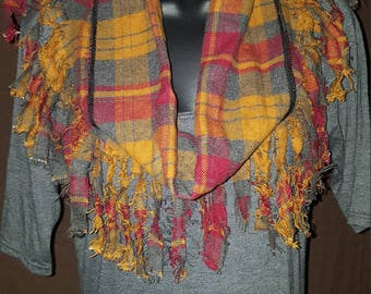 Cranberry and Mustard Plaid Infinity Scarf