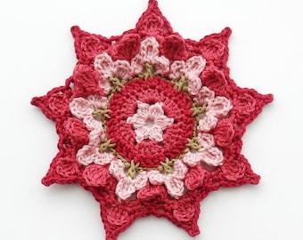 Crochet Coaster PATTERN Flower Patch - INTERMEDIATE Level coasters - Original Design by TheCurioCraftsRoom