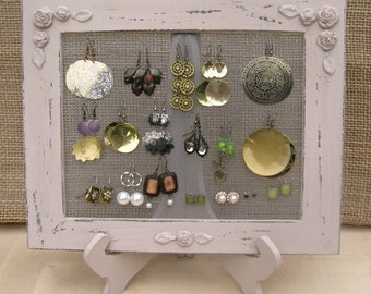 Earring Holder Display On A Stand / Antique Pink Shabby Chic / 25 - 40 Earrings