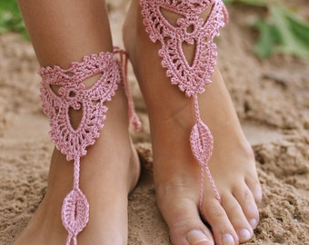 Crochet Powder Pink Barefoot Sandals, Nude shoes, Beach wedding Foot jewelry, Victorian Lace, Women's fashion accessory, Gift for her