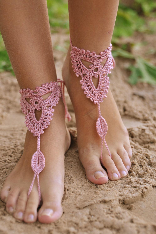 Crochet Powder Pink Barefoot Sandals Nude Shoes Beach-4543