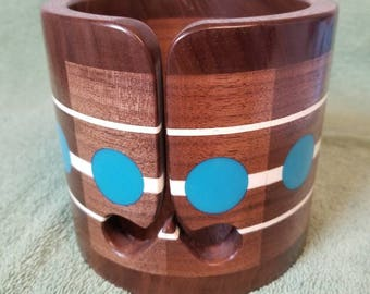 Walnut and Epoxy Wooden Yarn Bowl