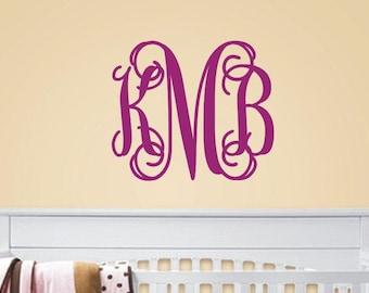 Monogram Wall Decal - Three Initial Monogram -Vine Monogram Vinyl Lettering - Vinyl Wall Decal - Personalized - Baby Nursery Decor