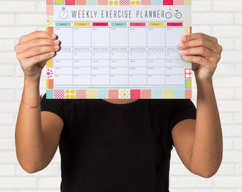 Printable Fitness Organiser,  Gym Diary, Weekly Exercise Planner, Printable Habit Tracker, Workout Tracker,