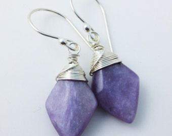 Charoite Gemstone Sterling Silver Earrings EE Designs