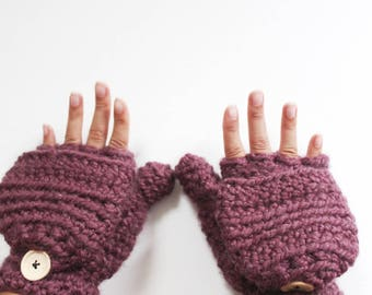 Wool convertible mittens, Womens crochet gloves, - The CERYS -  Glittens, Gloves with half fingers, Winter gloves
