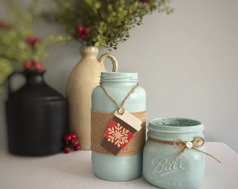 Mason Jar Decor/Coffee To Go/Snowflake/Light Teal Jar/Hand Painted/Country Home Decor/Recycled Glass/Red & Brown Tag/Burlap/Co-Worker Gift
