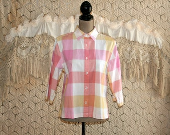 Plaid Shirt Pastel Top Cotton Blouse Large Spring Summer Button Up 3/4 Sleeve Pink Womens Shirts Womens Tops Womens Blouses Womens Clothing
