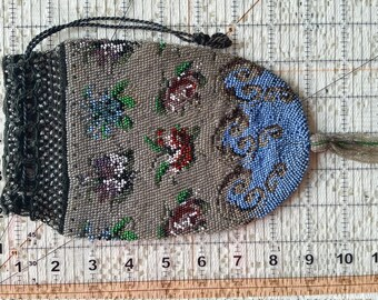 Antique Micro Glass Beaed Flower Reticule Drawstring Purse Tassel