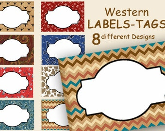 Country Western Tags, Digital Jar Labels, Food Labels, Party Labels, Printable Labels, Gift Tags, Frames, Place Cards,  Party craft supplies