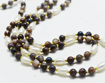 Brown White Gold Natural Agate Freshwater Pearl Necklace Beaded Long Gemstone Necklace Artisan Jewelry Delicate Necklace Grandmother Gift