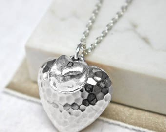 Hammered Heart Statement Pendant - Long necklace - heart pendant - 21st birthday - 18th birthday present - Gift for her